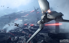 Картинка игры, Electronic Arts, DICE, X-Wing, star wars battlefront, Sullust, Imperial Shuttle