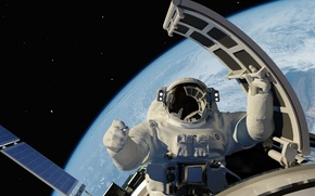 Картинка космос, вселенная, поля, корабль, космонавт, арт, Земля, космический, выход, красотища, бесконечность, открытый, боке, оборудование, звездного, …