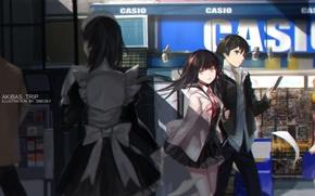 Обои арт, парень, swd3e2, люди, аниме, наушники, девушка, akiba's trip, fumizuki rui