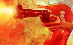 Картинка девушка, оружие, выстрел, Riot, Col Price