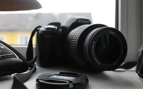 Картинка макро, зеркало, фотоаппарат, Nikon, оптика, D3100