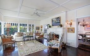 Картинка дизайн, фото, диван, ковер, интерьер, кресло, камин, гостиная