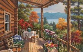 Картинка цветы, природа, дом, картина, живопись, терраса, painting, Sung Kim
