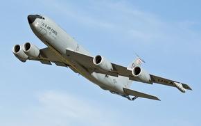 Картинка полет, Boeing, самолёт, реактивный, заправщик, военно-транспортный, многофункциональный, KC-135, четырёхдвигательный, Stratotanker, специализированный