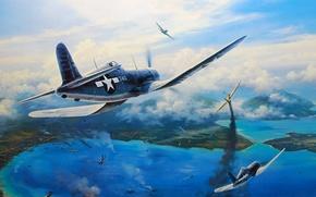 Картинка рисунок, арт, Corsair, F4U, nicolas trudgian, Vought, одноместный палубный истребитель времён Второй мировой войны