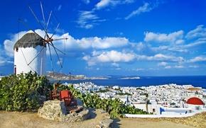 Картинка море, небо, облака, пейзаж, природа, дома, Greece