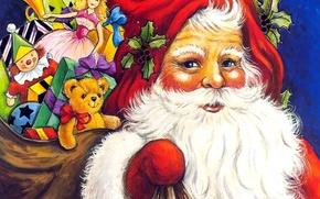 Обои новый год, рождество, подарки, Санта Клаус