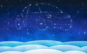 Картинка машина, звезды, новый год