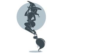 Картинка взгляд, минимализм, шляпа, силуэт, белый фон, ведьма, метла, halloween