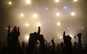 Обои свет, музыка, руки, концерт