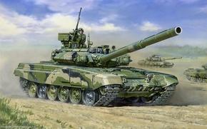 Обои рисунок, Танк, российский, т-90, основной боевой танк, танкисты