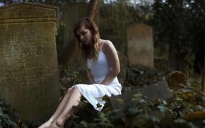 Картинка девушка, арт, кладбище, слеза, горе, надгробная плита
