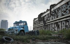 Картинка машина, здание, грузовик, Зил, Завод имени Лихачёва