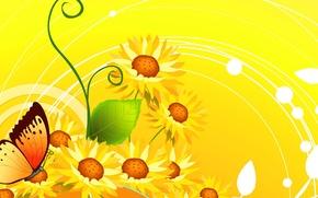 Картинка цветы, коллаж, бабочка, вектор