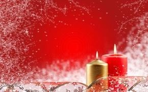 Обои красный, новый год, свечи