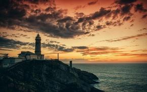 Картинка море, закат, природа, маяк, вечер