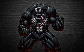 Картинка язык, темный фон, стена, монстр, комикс, зубастый, Spider-Man, Веном, Venom, Симбиот