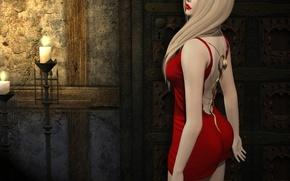 Обои платье, помада, девушка, в красном, фон