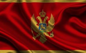 Картинка Красный, Флаг, Герб, Текстура, Flag, Черногория, Орёл, Montenegro