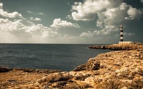 Картинка море, лето, небо, облака, маяк, солнечный