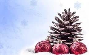 Картинка шарики, снежинки, праздник, новый год, шишка