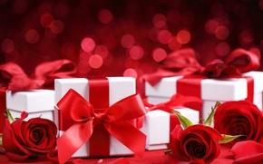 Картинка красное, романтика, розы, подарки, flowers, romantic, Valentine`s day, gift, день Святого Валентина