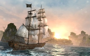 Картинка ночь, корабль, остров, Black Flag, Assassin's Creed IV