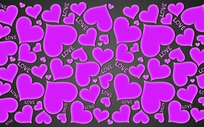 Обои love, hearts, сердечки, purple, любовь, gradient, background
