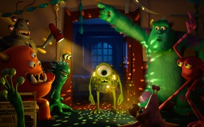 Обои монстры, Sulley, Monsters University, вечеринка, Академия монстров, Mike Wazowski