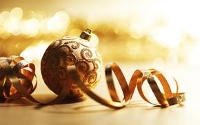 Обои стекло, праздник, картинка, золото, ёлочные украшения, обои, настроение, Новый год, шары, фото
