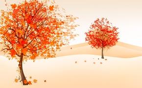 Картинка ветер, рисунок, листва, осень, деревья