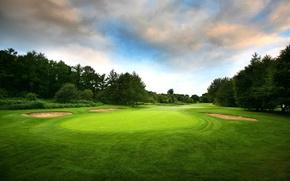 Картинка поле, деревья, для, гольфа