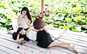Картинка цветы, девушки, настроение