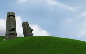 Обои Небо, Трава, остров Пасхи, Статуи