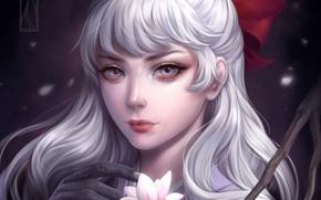 Картинка девушка, цветы, рука, ветка, арт, магнолия