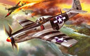 Картинка небо, вода, рисунок, корабли, бухта, истребитель, арт, самолёт, американский, японский, WW2, сбитый, P - 51K