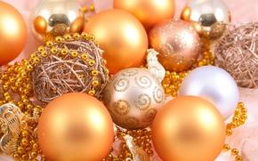 Картинка украшения, праздник, узоры, новый год, бусы, new year, золотые, елочные шары, для елки