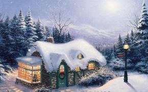 Обои ёлка, огни, New Year, домик, Christmas, фонарь, лес, Thomas Kinkade, картина, снег, Пейзажи, елки, живопись, ...