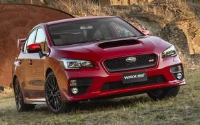 Картинка горы, Subaru, WRX, красная