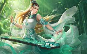 Картинка листья, девушка, украшения, бамбук, музыкальный инструмент