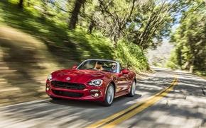 Картинка дорога, красный, автомобиль, Fiat, фиат, Lusso, 124 Spider