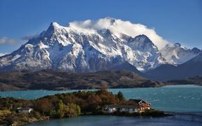 Картинка горы, озеро, остров, отель, Чили, Патагония