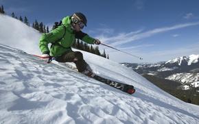 Картинка лес, снег, горы, Зима, freeride, фрирайд, горные лыжи