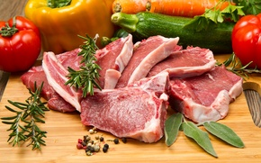 Картинка фото, Овощи, Еда, Мясные продукты