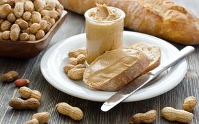 Картинка масло, хлеб, арахис, паста