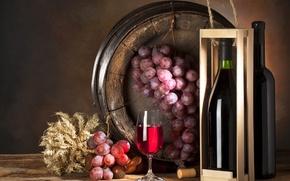 Обои бутылка, стол, бочонок, коробка, бокал, вино, виноград, гроздь