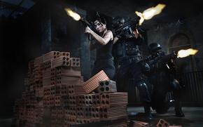 Картинка девушка, оружие, солдаты, азиатка