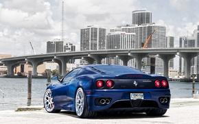 Картинка синий, мост, город, Ferrari, феррари, 360, небоскрёбы, blue, модена, Modena