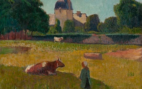 Картинка деревья, пейзаж, дом, замок, корова, картина, луг, Henri Moret, The Chauteau of Keroman