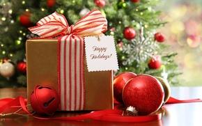 Картинка новогодняя, шарики, декорация, подарки, праздник, ёлка, елочные, рождество, украшения, огни, гирлянды, Новый год